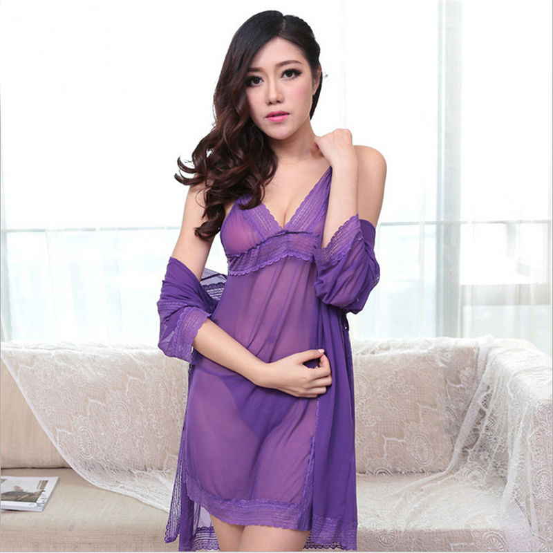 (bathrobe + sling +T Back) 2017 New Arrival Women silk Robe Set hollow out Lace  sexy pajamas temptation Sexy underwear-in Robe   Gown Sets from Women s ... 185e1e946