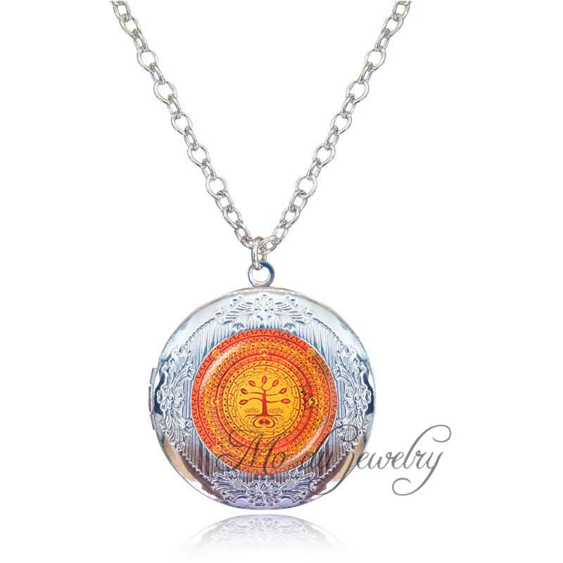 Wisdom Art Tree Locket Choker Orange Life Tree Necklace Men Spiritual Jewelry Glass Dome Women Necklace Buddhism Jewllery Gift