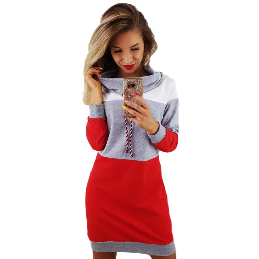 WOMAIL Women Lolita Style Women Collared Long Sleeve Dress Ladies Casual Bodycon Short Mini Sundress Sept28
