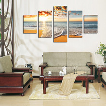 5 Piece Canvas Art  Wall Seascape Picture landscape Oil Painting Print Home Decor Poster Framed