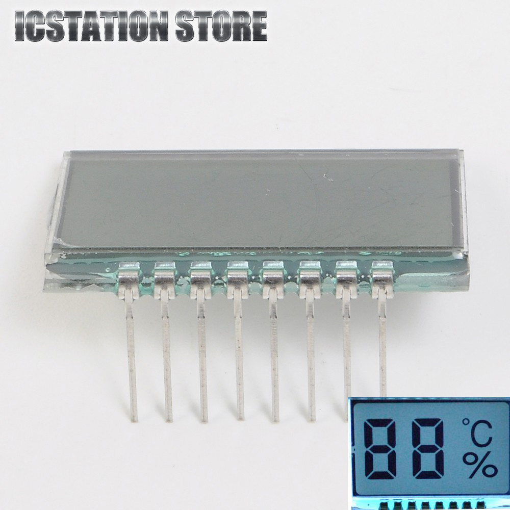 8PIN TN Positive 2 Digit 7 Segment Temperature And Humidity LCD Digital Display Panel 3V 30*21*2.8mm (Without LED Backlight) 100 pcs ld 3361ag 3 digit 0 36 green 7 segment led display common cathode