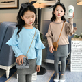 2 Pcs,T-shirt + pants,New Arrival 2017 Girls Clothes Sets Spring and Autumn Fashion Patchwork Flare Sleeve kids clothing Brand