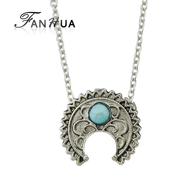 Fanhua silver color long chain collar geometric pattern with blue fanhua silver color long chain collar geometric pattern with blue stone pendants bijouterias minimalist jewelry necklace aloadofball Image collections