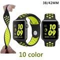 Новый 38 ММ 42 мм ремешок для часов оригинальный светом Гибкие Дыхания силиконовые просмотрам ремень группа для apple watch iwatch часы-ремешок