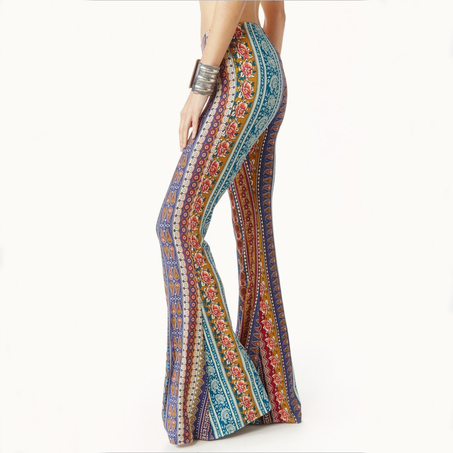 Summer New Hot Sale Boho Vintage   Pants   Bell Bottom   Wide     Leg     Pants   Women Trousers Stretch Flare Boho Rose Printed   Pants   Female