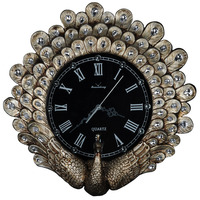 Vintage high end decorative wall clock American style modern art living room resin creative home table peacock wall clock