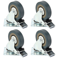 De servicio pesado 50mm 360 Grado de goma giratoria ruedas carro Universal giratoria de 40KG de freno de silla de oficina de muebles rueda giratoria
