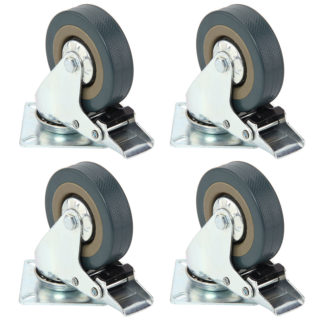 Set of Heavy Duty 50x17mm Rubber Swivel Castor Wheels Trolley Caster Brake 40KGModel:4 with brake