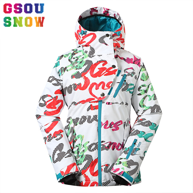 Free Shipping Gsou Snow Ski Jacket Women Warmth Letter Printing Ladies Snowboard Jacket Windproof Waterproof Female Snow Coats gsou snow ladies waterproof ski jacket womens ski jackets and coats snowboard jacket winter coat windproof free shipping