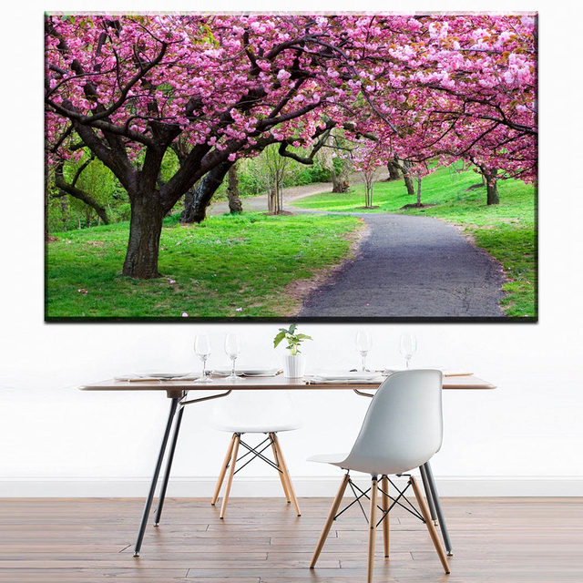 zz1693 beautiful japanese cherry blossom tree scenery canvas oil art painting wall pictures for livingroom bedroom