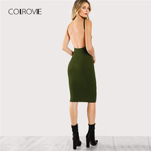 8d453890ee2a COLROVIE Preto Sexy Backless Low Back Lápis Cor de Vinho Vestido de Verão  2018 Novos Meninas Verdes Bodycon Vestido Curto Vestid.