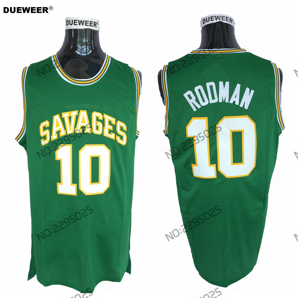DUEWEER Mens Dennis Rodman Throwback Basketball Jersey 10 Dennis Rodman  Oklahoma Savages College Jerseys Green Retro Shirts 9e0ad5a6f