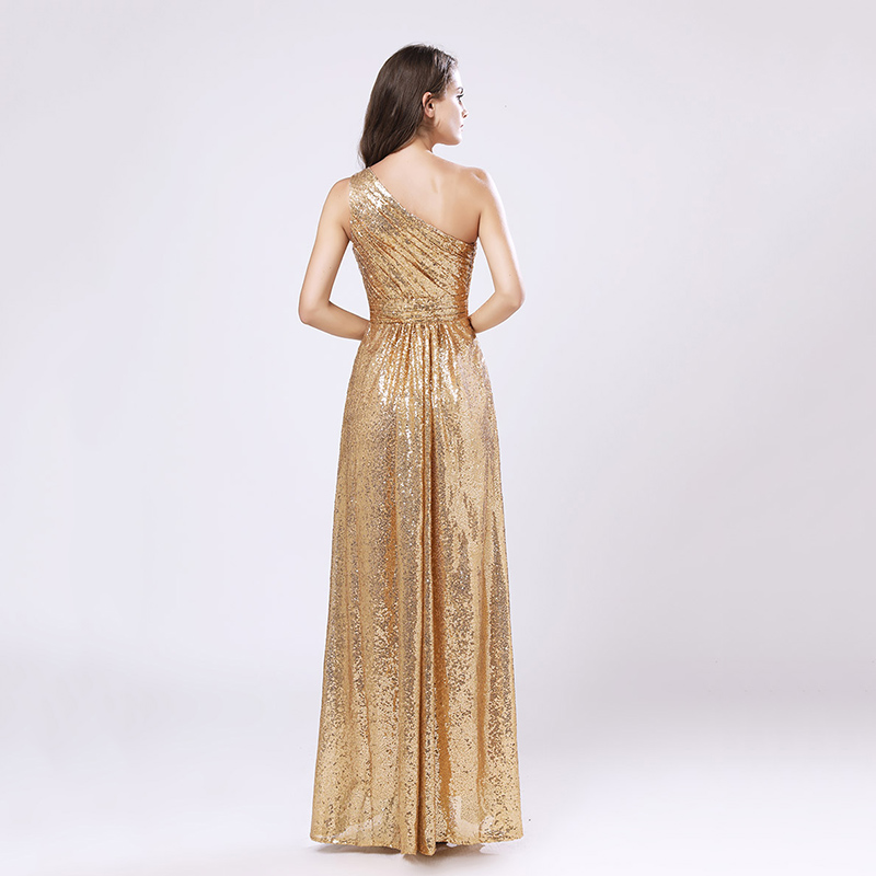 One Shoulder Gold Sequin Bridesmaid Dresses Cheap A Line Maid of Honor Dress Women Plus Size Long Pageant Party Gowns OS421 4