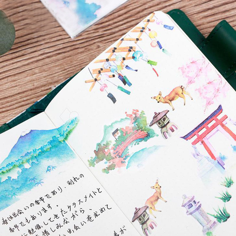 6 pcs/pack Japanese Style Decorative Washi Stickers Scrapbooking Stick Label Diary Stationery Album Stickers 4 pcs pack retro little prince vintage folding stamps stickers diy paper decorative stickers europe style stationery stickers
