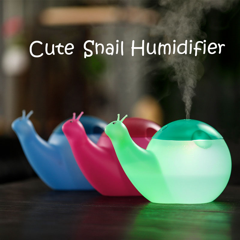 Mini USB Snail Humidifier DC 5V Colorful Night Light Diffuser Desktop Mute Mist Maker Fogger For Home Office Student Dormitory portable mini square usb air humidifier blue led night light mute diffuser home office cool mist maker fogger humidifiers