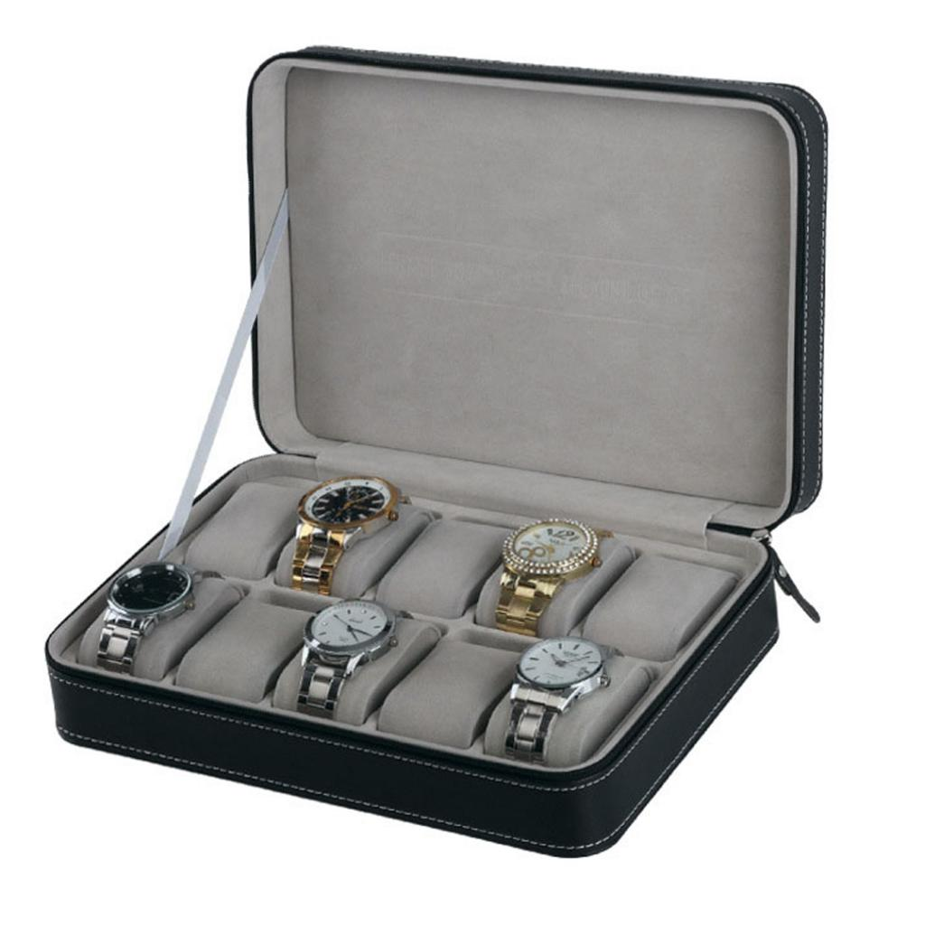 Travel Portable Sport Protect 10 Grids Leather Zippered Wristwatch Box Case Black PU Velvet Zipper Storage Bag Box