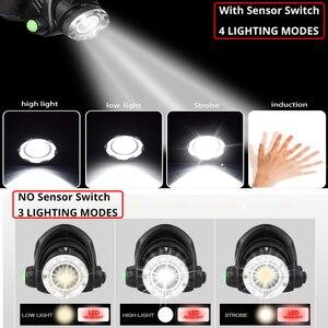 Image 3 - 강력한 전조등 T6/L2/V6 충전식 LED 헤드 라이트 바디 모션 센서 헤드 손전등 캠핑 토치 라이트 램프 낚시