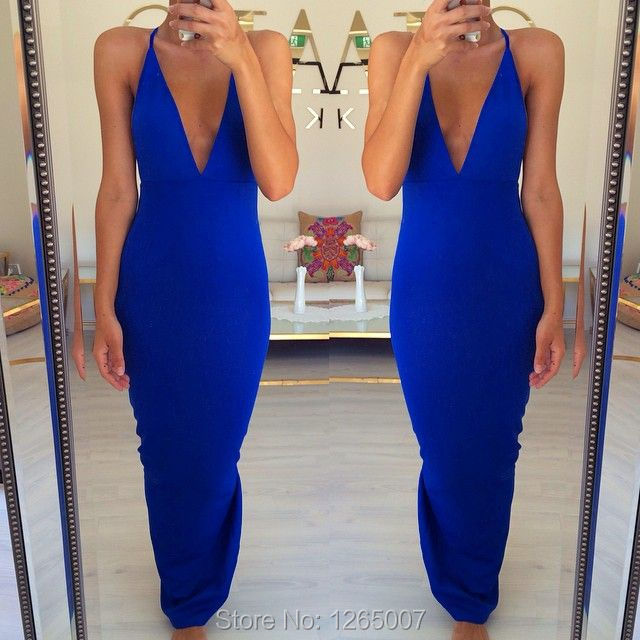 Blue Fitted Maxi Dresses