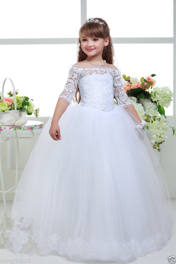 NEW Lace Tulle TUTU Flower Girl Dress Wedding Easter Junior  Kids Girl Dress