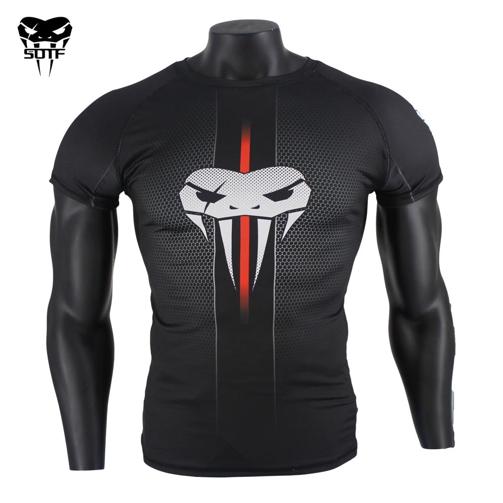 SOTF MMA Snake Head Black honeycomb Fitness Breathable Boxing jerseys tiger muay thai jiu jitsu t shirt mma rashguard boxing