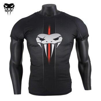 цена на SOTF MMA Snake Head Black honeycomb Fitness Breathable Boxing jerseys tiger muay thai jiu jitsu t shirt mma rashguard boxing