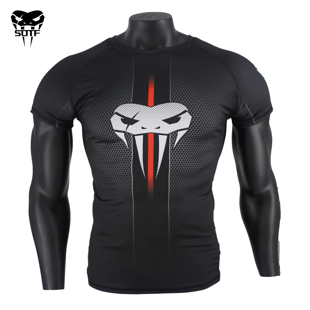 Cabeça de Cobra Sotf Favo Preto Fitness Respirável Boxe Jerseys Tigre Muay Thai Jiu Jitsu t Camisa Rashguard Mma Mel