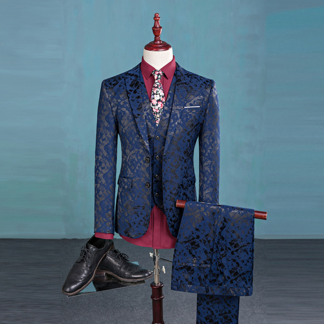 3 peças mens terno mais recentes modelos casaco calça Terno Impressão Homens moda Slim Fit Terno Vestido de Noiva Conjunto Noivo Smoking Blazer Mens