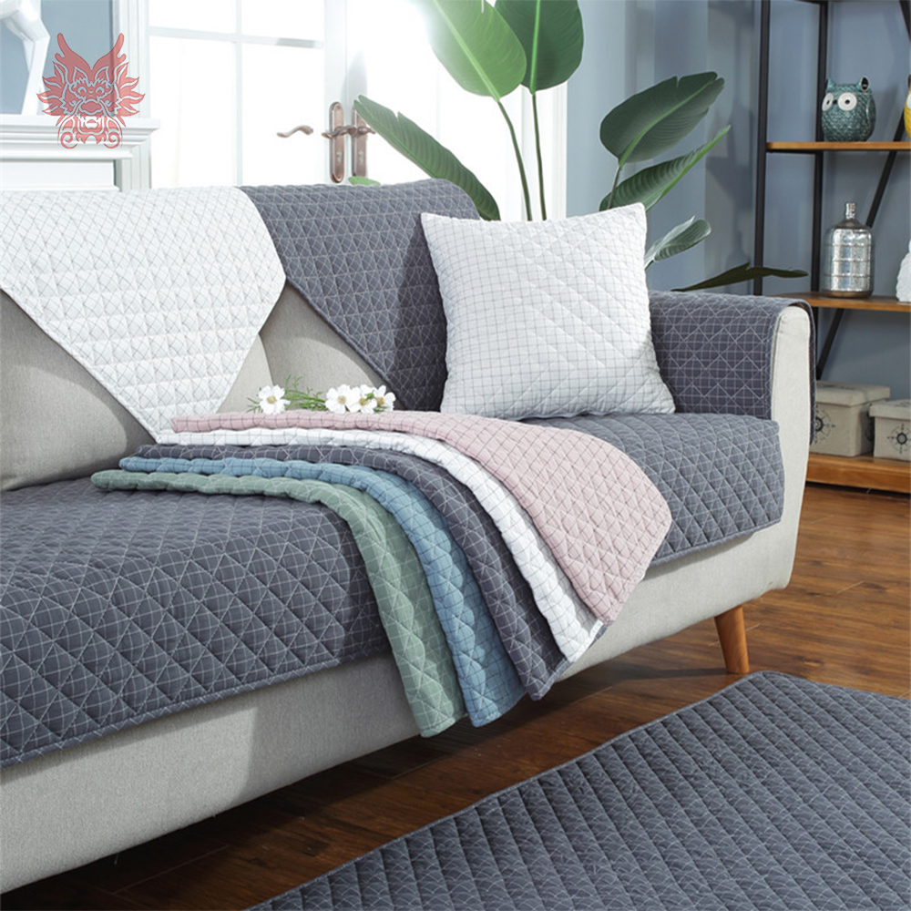 Korean Style Plaid Quilted Sofa Cover Slipcovers Washed Cotton Furniture Couch Covers Sofa - Protector De Sofa