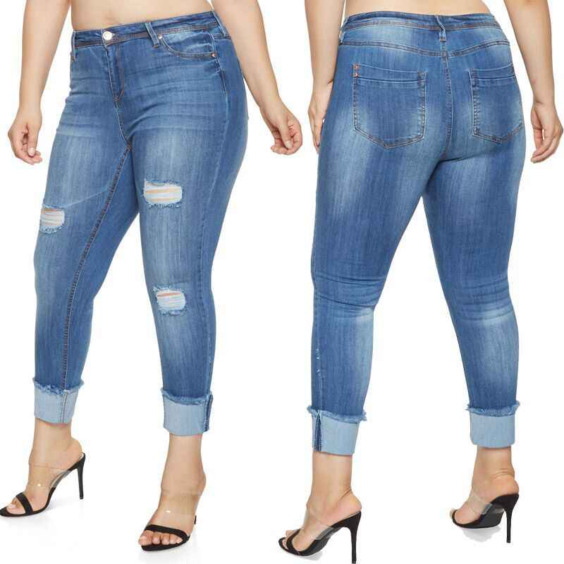 1cc2dcc4958 Women's Plus size High Waist Butt Lifting ,Relaxed Fit Skinny Jeans  Distressed Ripped Blue Denim