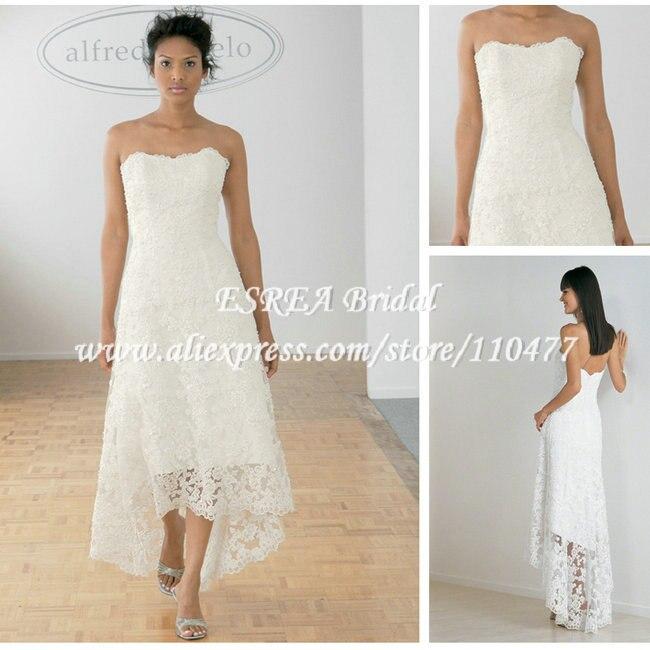 Beach Wedding Dresses Short In Front Long In Back : Beach designer white lace low back tea length hi
