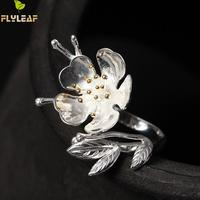 Flyleaf Brand 925 Sterling Silver Sakura Flowers Open Rings For Women Original High Quality Lady Party