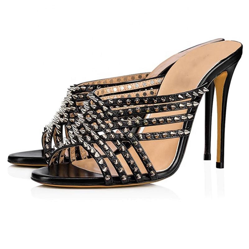 Stylish-Black-Open-Toe-High-Heel-Mules(2) - 副本