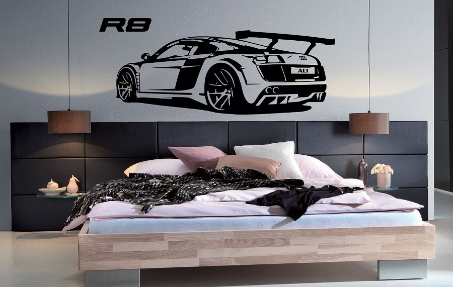 Customizable personalized name R8 Super car vinyl wall stickers Sports car enthusiasts youth room shool home wall decal 2CE20 in Wall Stickers from Home Garden