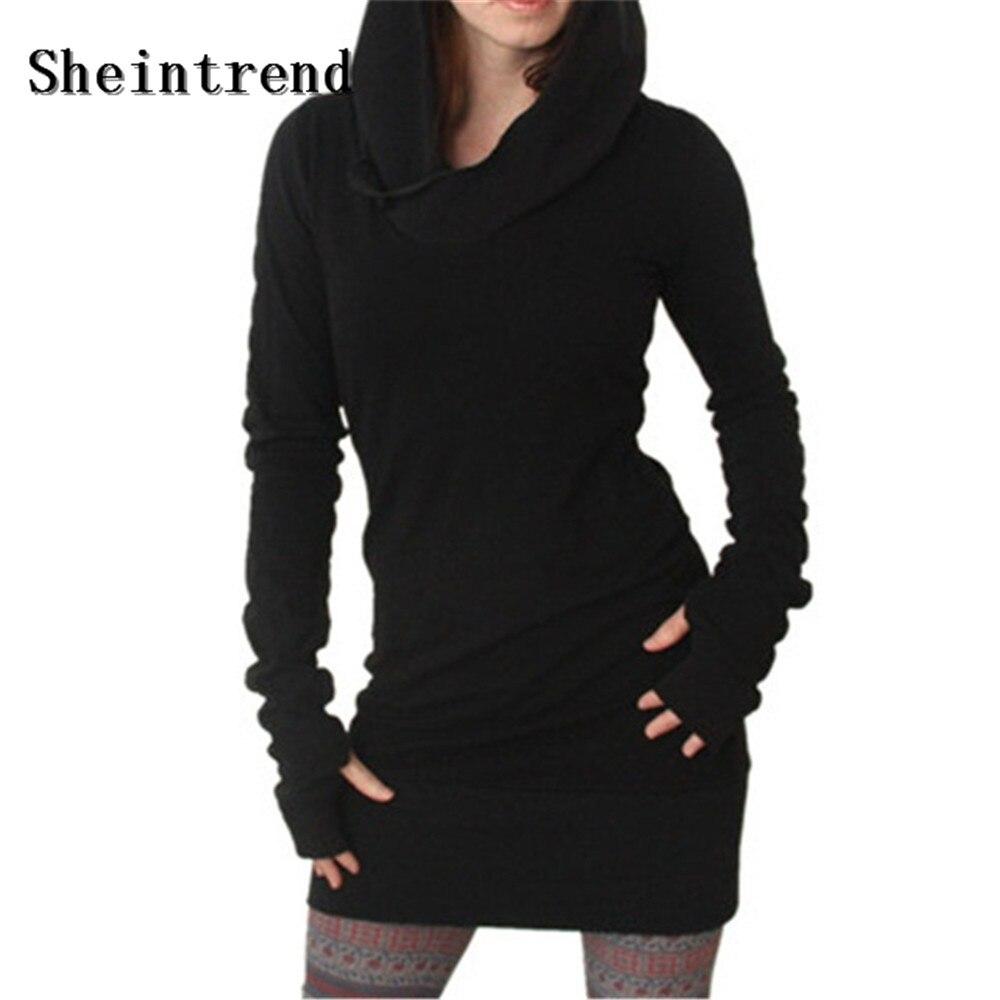 Sheintrend Novelty Dress 2017 Women Autumn Winter New Arrival Black Gothic Dresses Hole Long Sleeve Loose Hooded Mini Dress