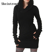 Sheintrend Novelty Dress 2017 Women Autumn Winter New Arrival Black Gothic Dresses Hole Long Sleeve Loose