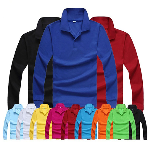 2017 New Men's Casual Solid Color Turn-Down Collar Long Sleeve   Polo   Shirt Pullover Top