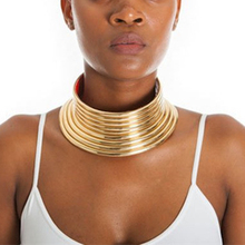 2019 New Vintage Statement Choker Necklace Women Gold Color Leather Collar Maxi Necklace African Jewelry Adjustable Chokers Big недорого