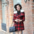 High Quality Casual Oversize Ladies Woman Plaid Coats British Style Tartan Warm Womens Tweed Outwear With Fur Collar Pockets XL