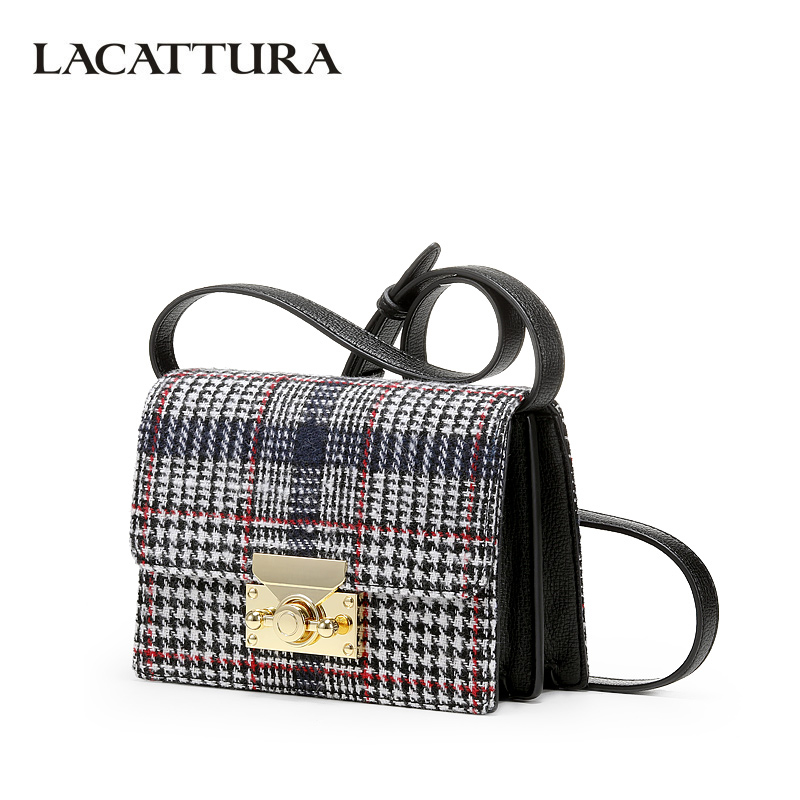 LACATTURA Women Shoulder Bag Designer Handbags Classic Houndstooth Purse Crossbody for Ladies Small Messenger Bags chain houndstooth print crossbody bag