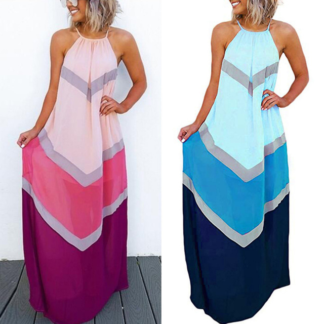Fashion Women's Halter Striped Color Patchwork Pleated Back Hollow Out Maxi Long Dresses Robe Femme Vestidos Elbise stockout