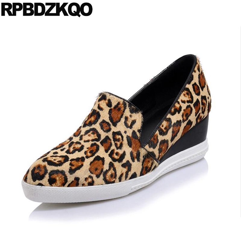 Casual Shoes Top Quality Pumps Black Size 4 34 Runway Designer Wedge Ladies Medium Leopard Print High Heels Pointed Horsehair парктроник parkmaster 4 dj 34 34 4 a black