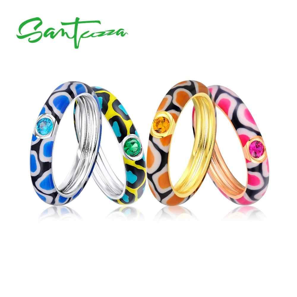 Santuzza แหวนเงินผู้หญิง-สีหิน Eternity แหวน 925 เงินสเตอร์ลิงแฟชั่นเครื่องประดับอัญมณีที่มีสีสัน Handmade