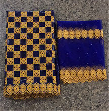 India bazin riche getzner 2019 bacino riche getzner jacquard broccato tessuto con pietre ultime nigeriano gele headtie 5 + 2 yards/lot(China)