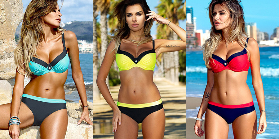 HTB1ZGnuBOCYBuNkHFCcq6AHtVXaa bikini swimwear women 2018 sexy bikini set push up swimsuit female two piece swimsuit women halter yellow bikini girl beach wear