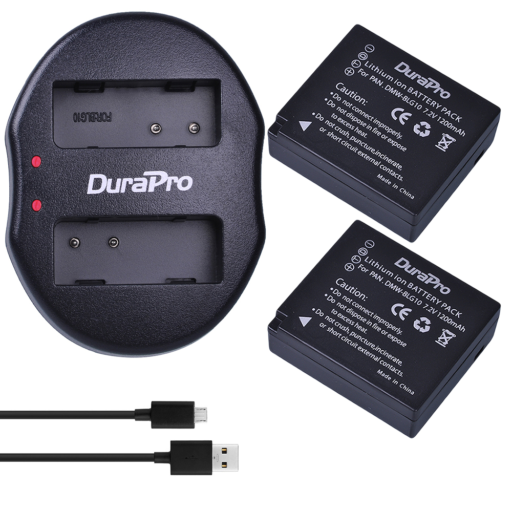 DuraPro 2pcs DMW-BLG10 DMW BLG10 Camera Battery + USB Dual Charger for Panasonic BLG10E BLG10GK BLG10 DMC-GF6 DMC-GX7 GF6 GX7
