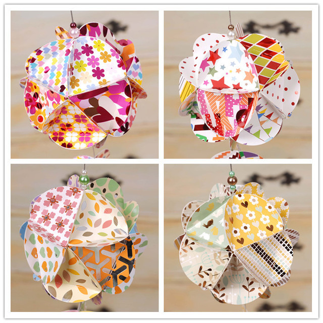 DIY origami paper ball kit to make cute paper ornament birthday