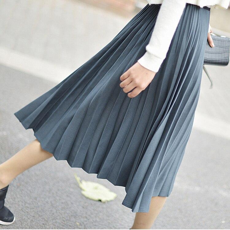 Automne Haute Jupe Hiver Femmes Taille Rétro 2018 Jupes Plissée 1qwz0wt