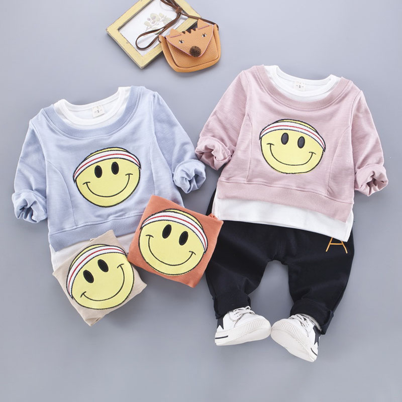New spring cotton baby girl clothing long sleeve t shirts + pants infant boys sets kids clothes tracksuits for 0-2T chidlren min