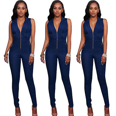 Womens Denim Zip Clubwear Playsuit Bodycon Party Jumpsuit Long