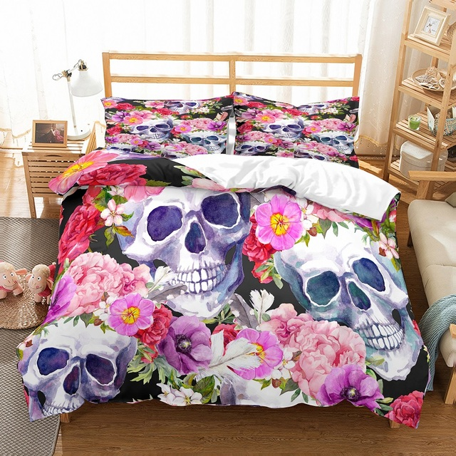 3D FLOWER SKULL BEDDING SET